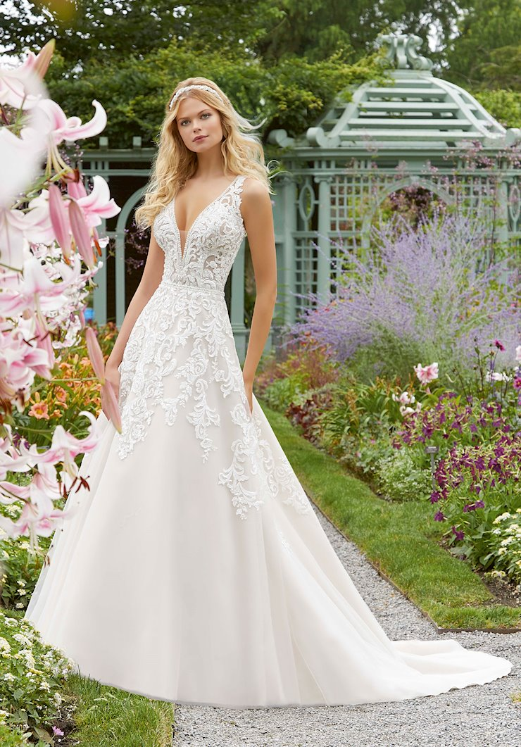 Morilee Style #2041 Embroidered and Crystal Beaded A-line Wedding Dress  Image