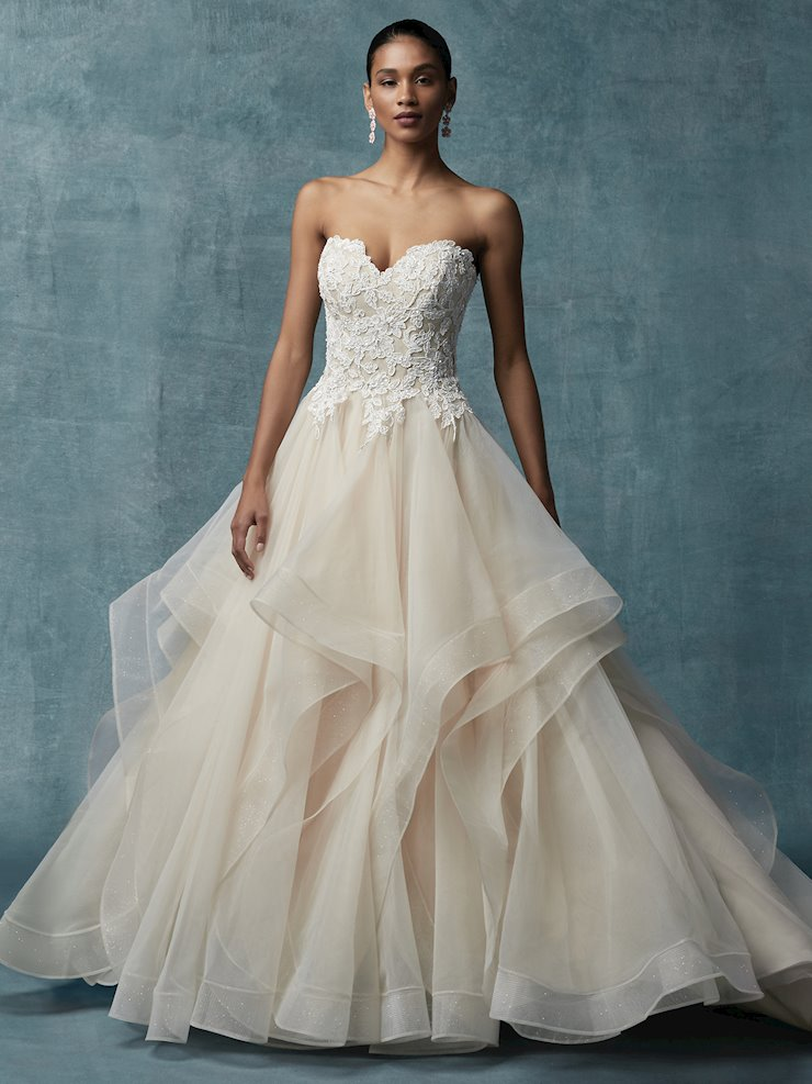 Maggie Sottero Style #Anastasia Strapless Ballgown with Tiered Tulle Skirt and Sparkly Bodice  Image