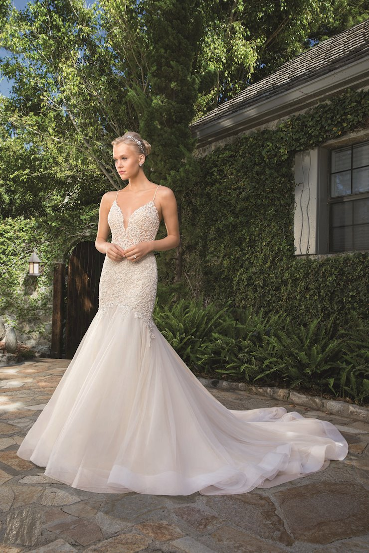 Casablanca Style #2359 Silver Beaded Fit and Flare Wedding Dress with Deep V-Neck Image