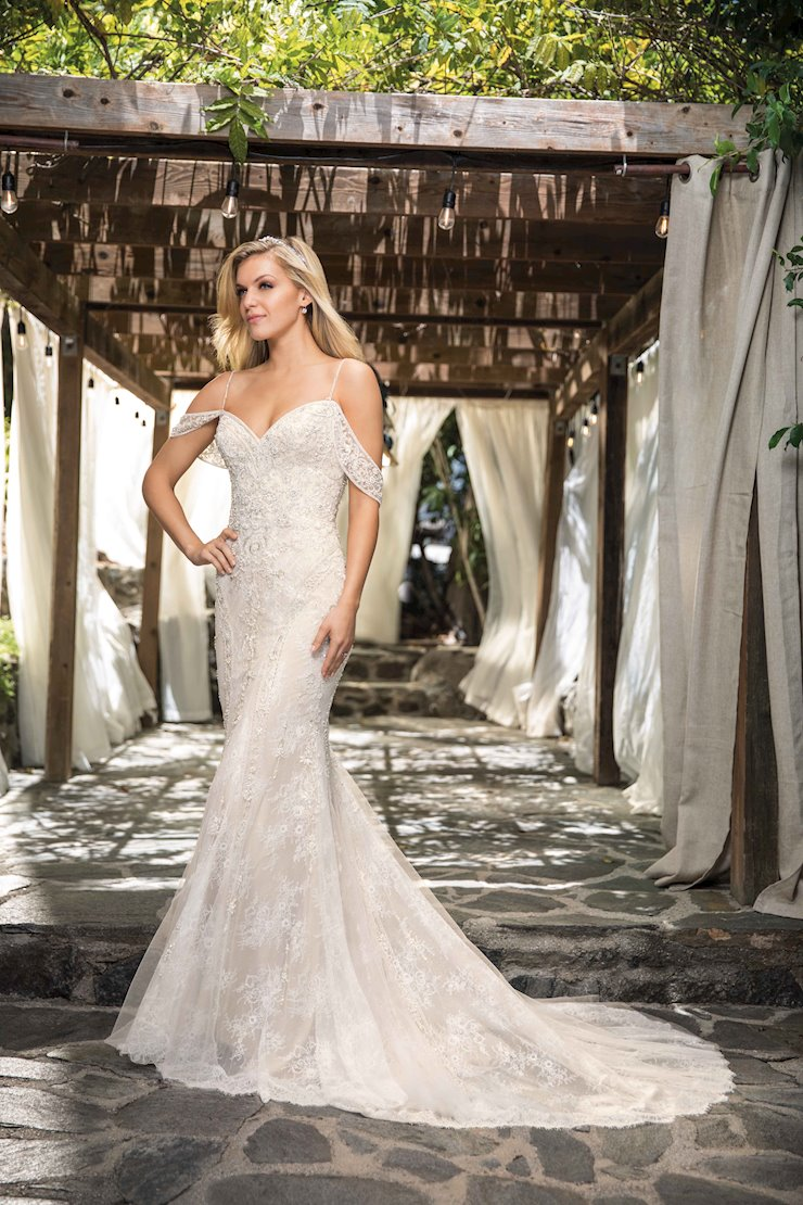 Casablanca Style #2367 Lace and Beaded Cold Shoulder Fit and Flare Wedding Dress Image