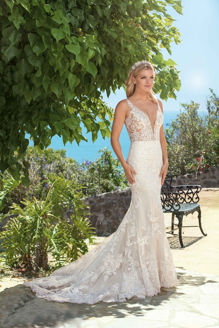 Casablanca Style #2371 Plunging V-Neckline and V-Back Sheath Wedding Dress with Silver Beading and Crystals Image