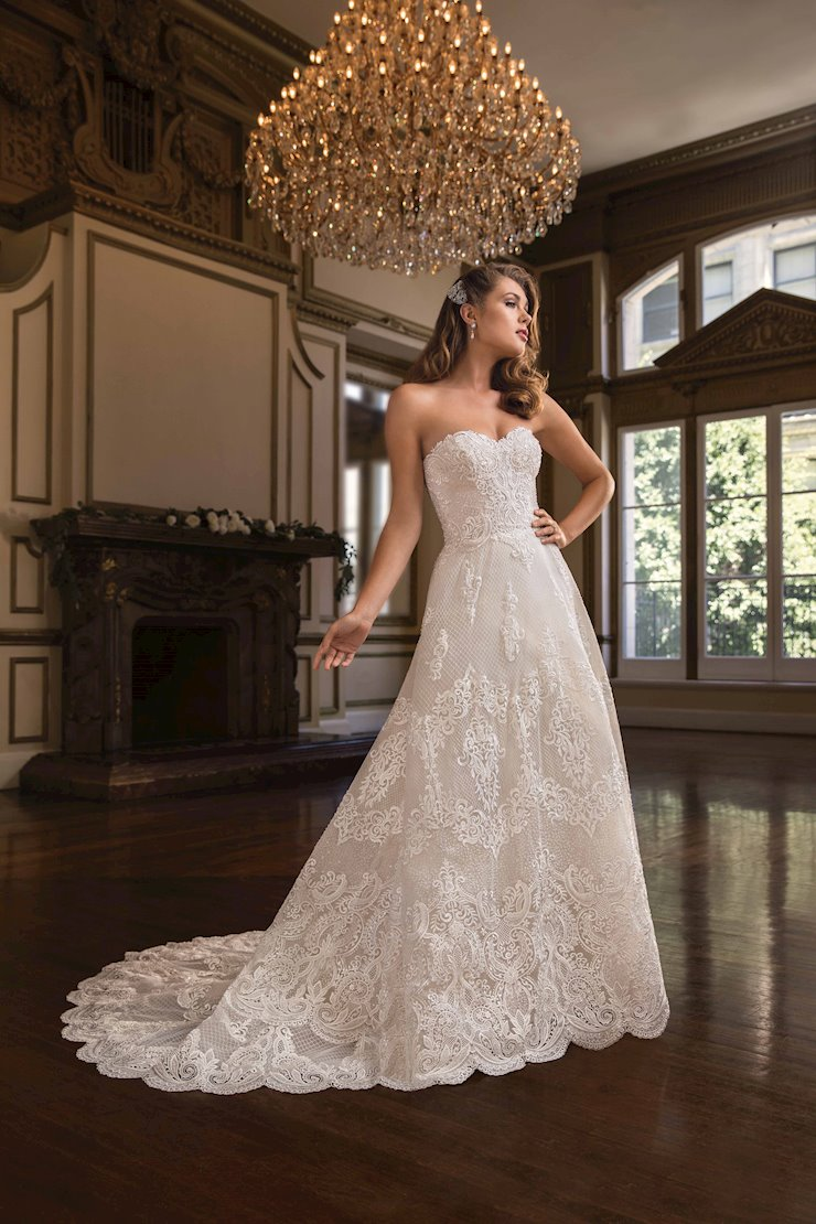 Casablanca Style #C141  Strapless Lace A-line Wedding Dress with Scalloped Edge Train Image