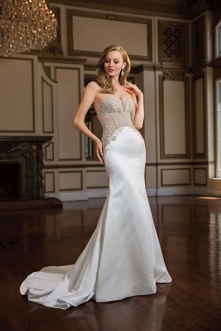 Casablanca Style #C145 Vintage Sexy Strapless Fit and Flare Wedding Dress with Crystal and Rhinestone Beading Image