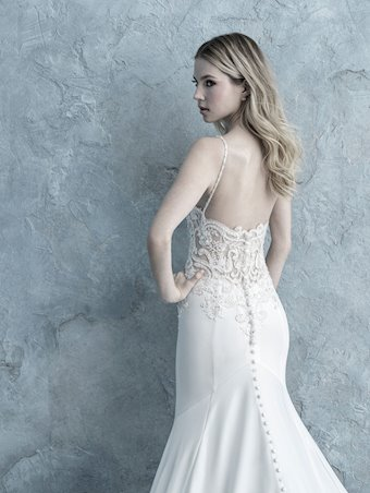 Allure Style #9664 A-line Crepe Wedding Dress with Thin Straps, Beaded Lace Appliques and Illusion Train