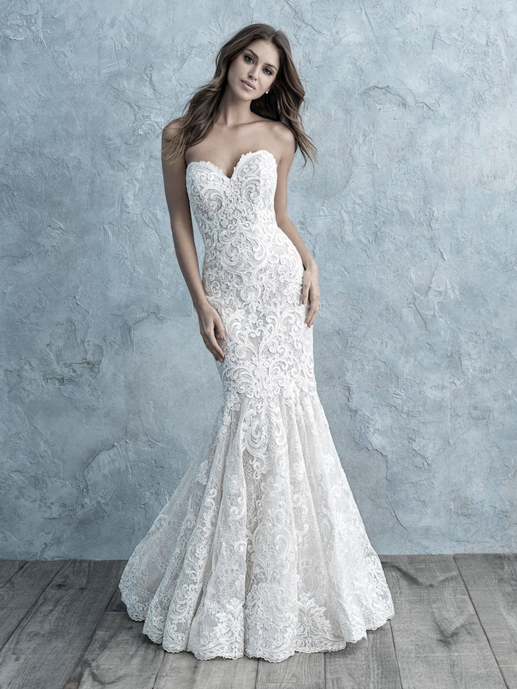 Allure Style #9666 Fit and Flare Strapless Beading and Lace Wedding Dress  Image