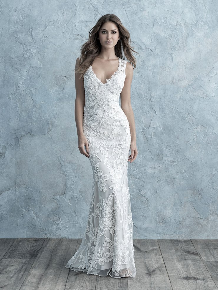 Allure Style #9670 Stunning Floral Applique Sheath Wedding Dress with Wide Straps and  Edged Back  Image