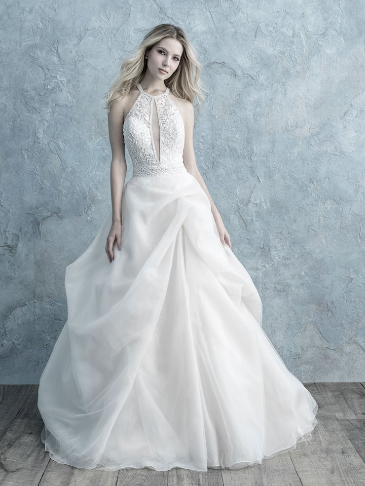 Allure Style #9674 Halter Style Ballgown Wedding Dress with Key Hole Front and Back Image