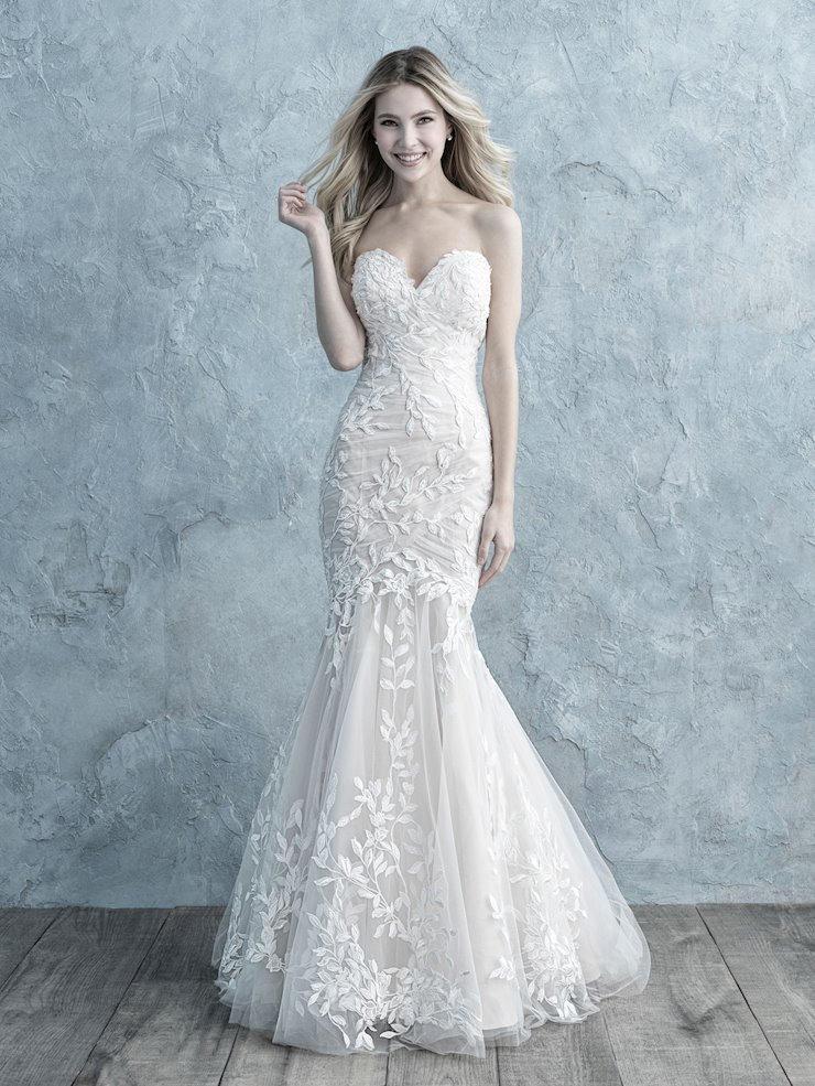 Allure Style #9678 Strapless Fit and Flare Ruched Wedding Dress with Vine Details  Image