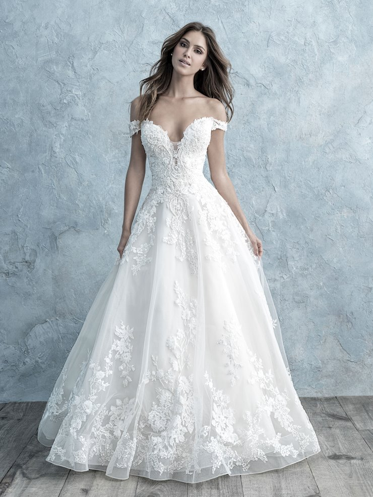 Allure Style #9681 Romantic Off-the-Shoulder Floral and Lace Ballgown  Image
