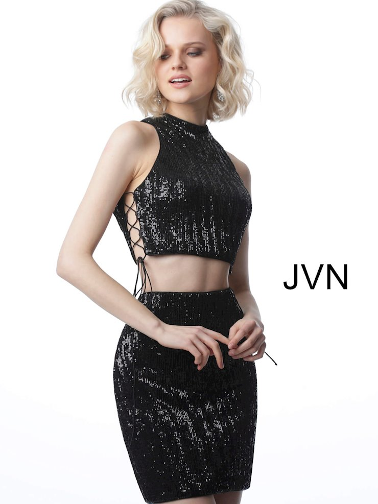 JVN Black Sequin Two Piece Dress