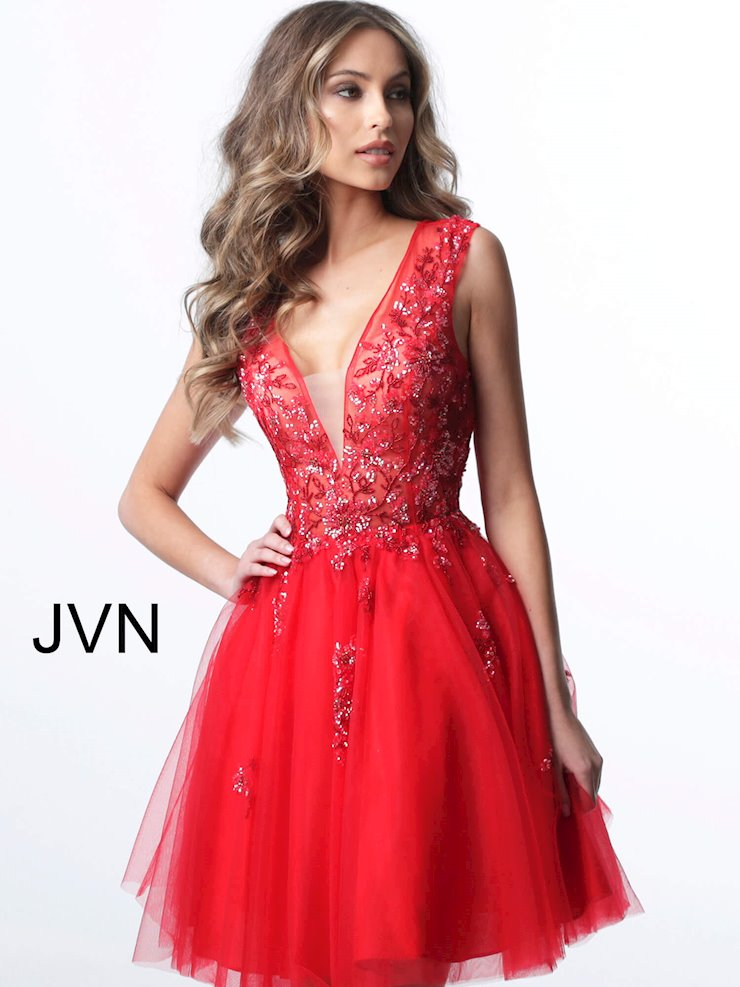JVN Red Tulle Homecoming Dress
