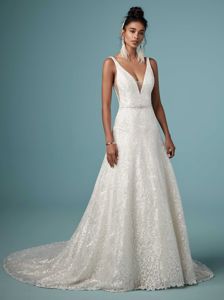 Maggie Sottero Style #Monica Shimmery Backless A-line Wedding Dress with Plunging Illusion Neckline Image