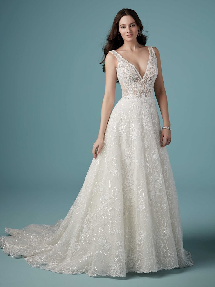 Maggie Sottero Style #Ricarda Sparkly Lace A-line Wedding Dress with Allover Sequins Image