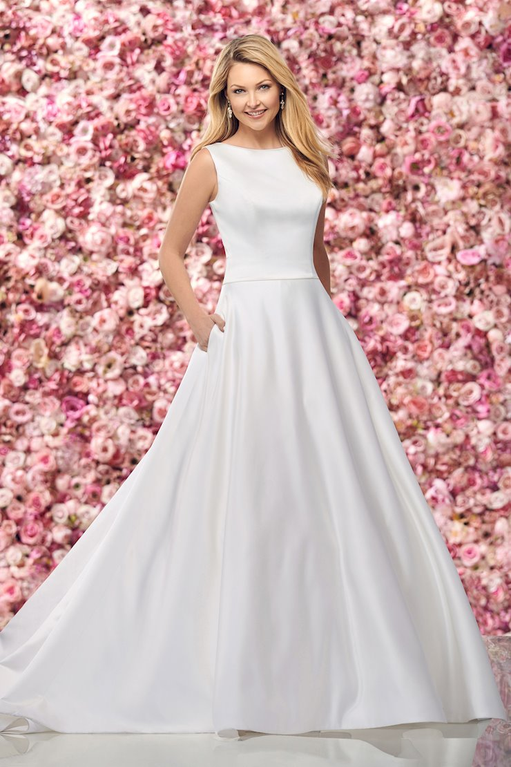 Simple Satin A-Line Gown with Keyhole Back