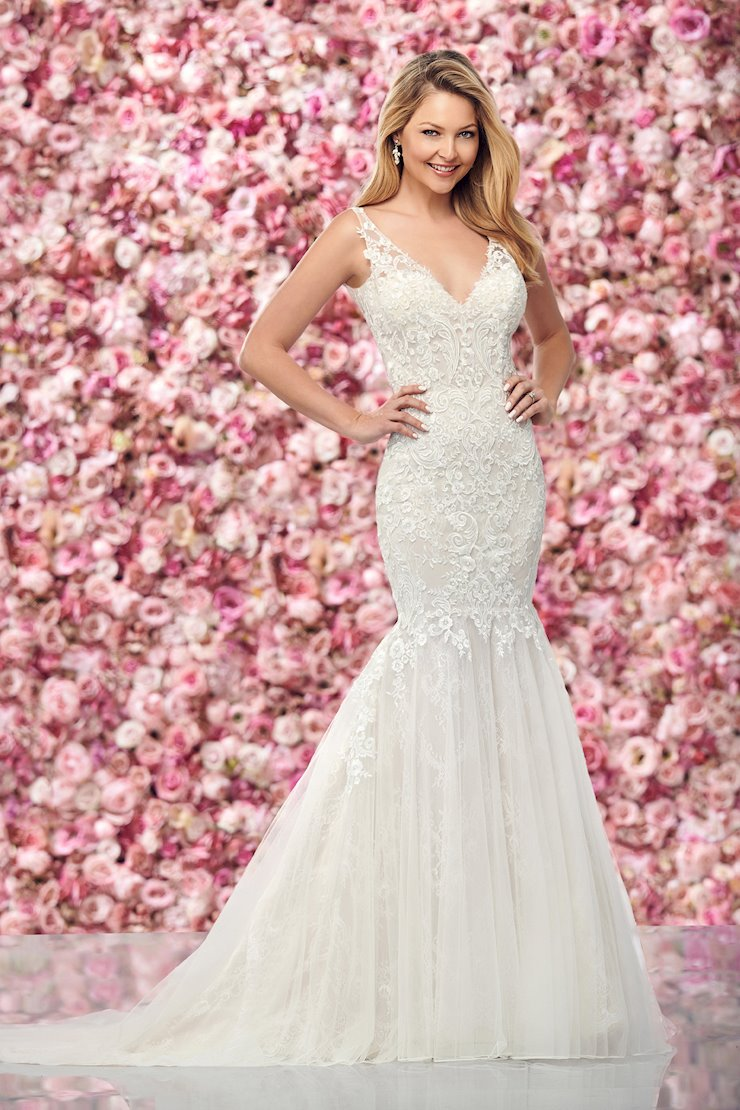 Intricate Lace, Tulle and Chiffon Trumpet Gown
