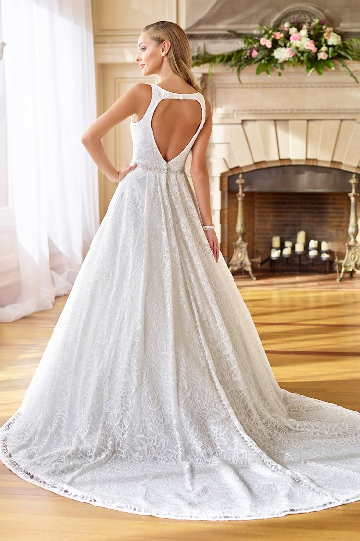 Regal Lace and Organza Gown with Keyhole Back