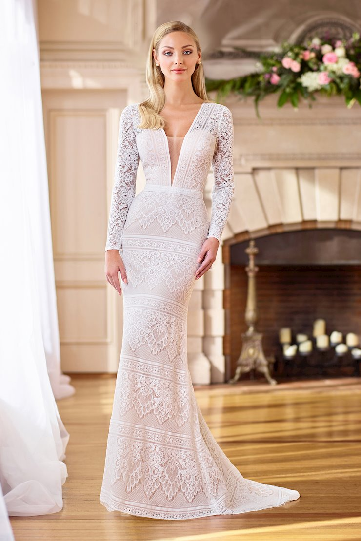 Bohemian Lace Fit and Flare Gown with Illusion Long Sleeves