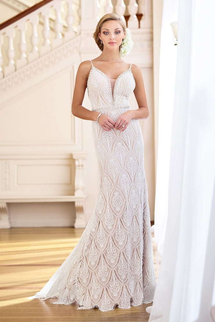 Beautiful Beaded Lace Gown with Spaghetti Straps