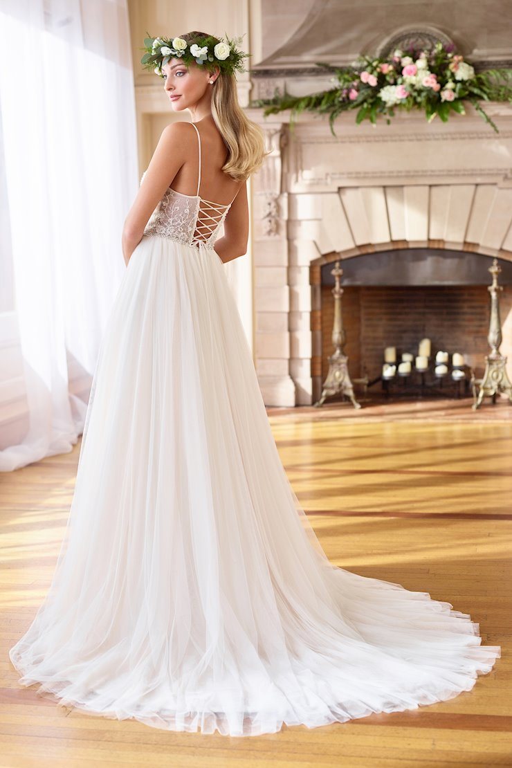 Airy Embroidered Tulle A-Line Gown with Sheer Back