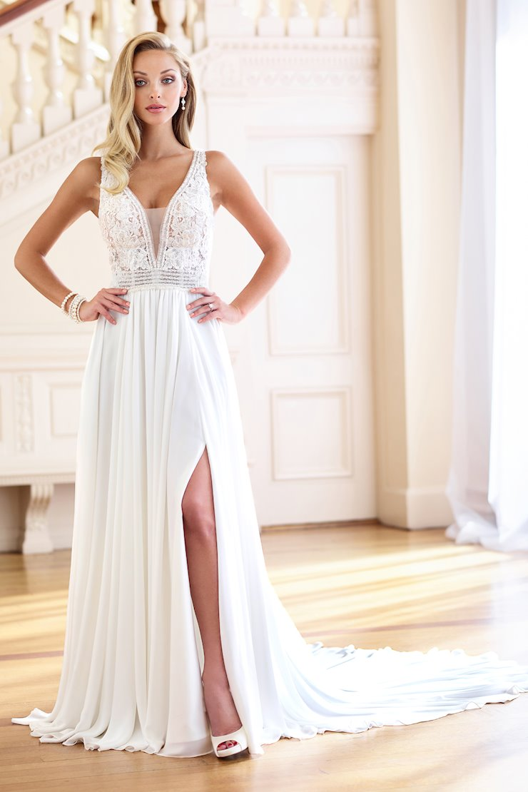 Bold Chiffon A-Line Gown with Keyhole Back