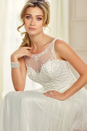 Delicate Tulle A-Line Gown with Illusion Neckline