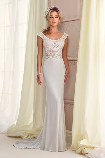 Jersey Fit and Flare Gown with Cap Sleeves