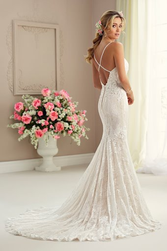 Lace Fit and Flare Gown with Lace Spaghetti Straps