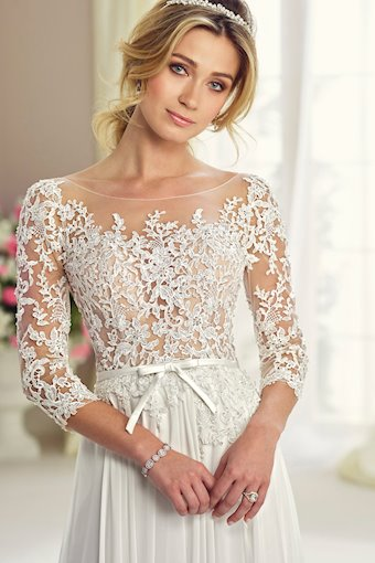 Heavenly Lace A-Line Gown with Three-Quarter Length Sleeves
