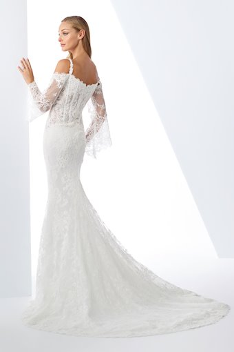 Trendy Fit and Flare Gown with Long Lace Bell Sleeves