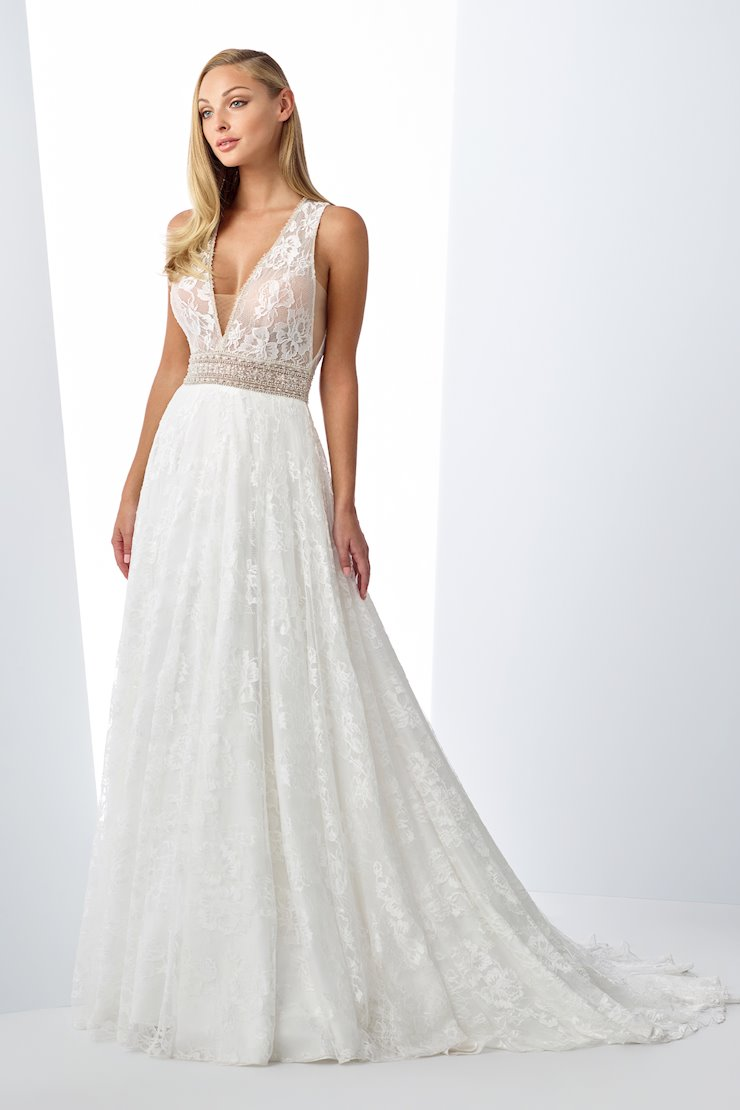 Breezy Lace and Satin A-Line Gown with V-Neckline