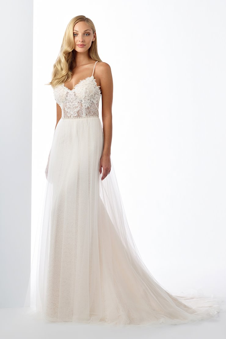 Spellbinding A-Line Gown with V-Neckline and Sheer Bodice