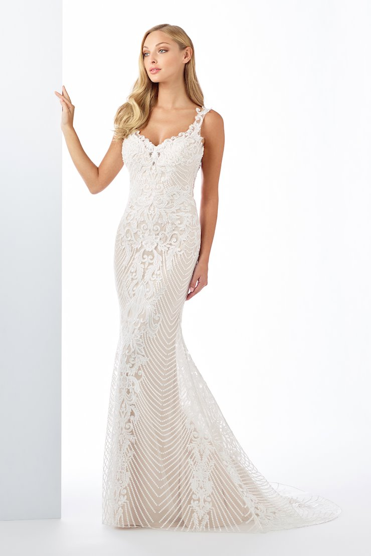 Unique Lace and Tulle Fit and Flare Gown with V-Neckline