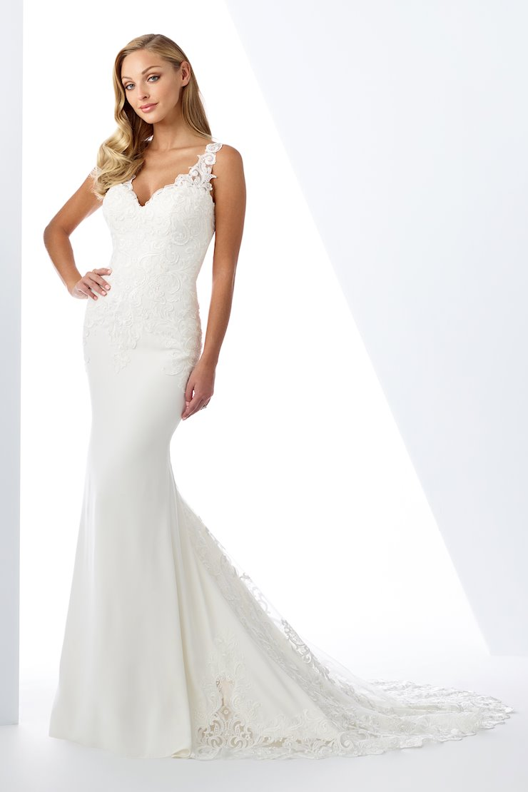 Curve-Loving Lace and Crepe Trumpet Gown with Sheer Back