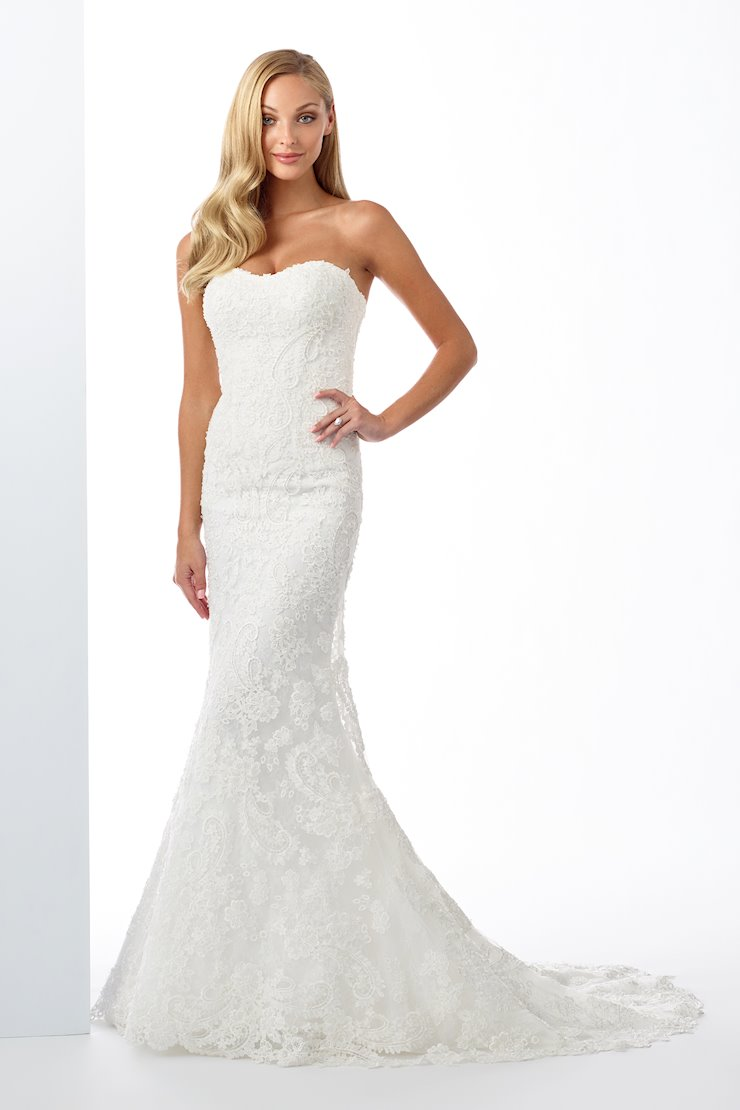 Dazzling Strapless Embroidered Lace Fit and Flare Gown
