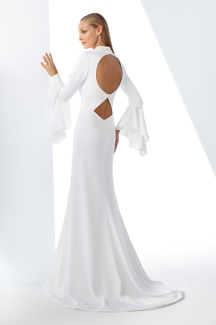 Modern with a Twist Satin Fit and Flare Gown with Long Bell Sleeves