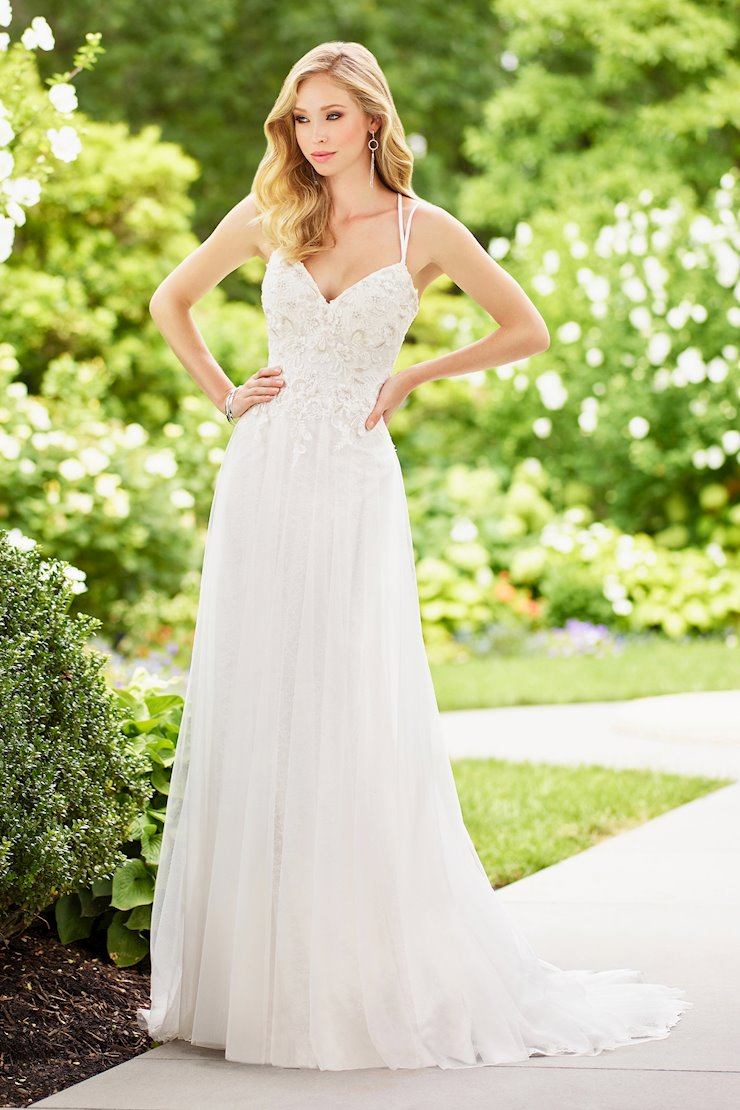 Dreamy Sleeveless Lace Over Tulle A-Line Gown