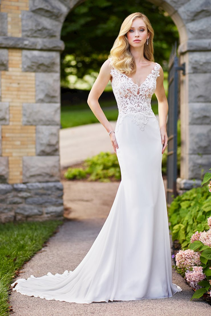 Detailed Fit and Flare Gown with Sequin Lace