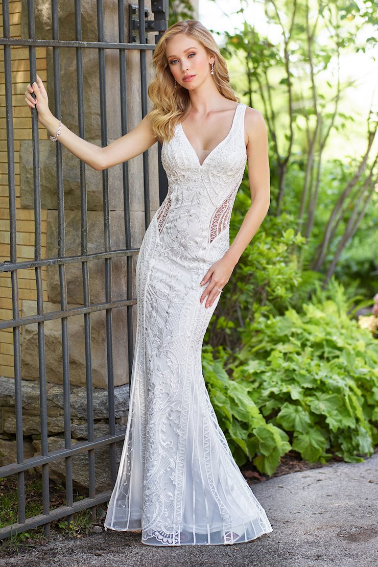 Sensual Fit and Flare Gown with Beaded Lace