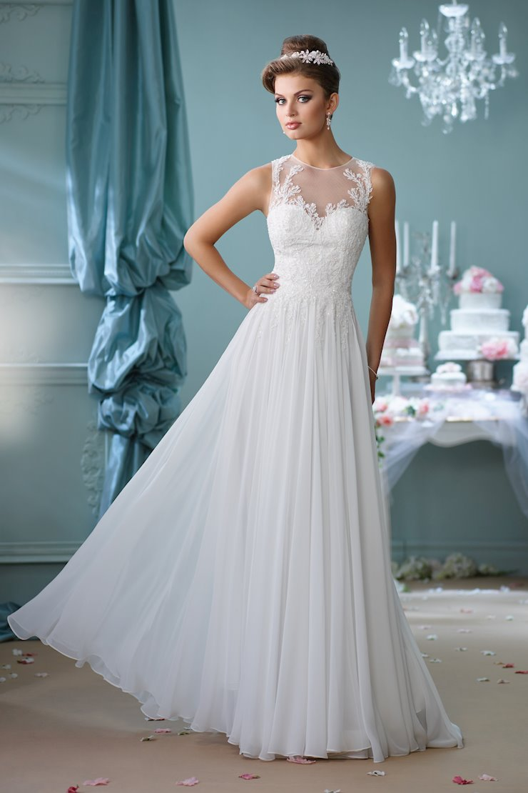 Sleeveless A-Line Gown with Illusion Neckline and Back