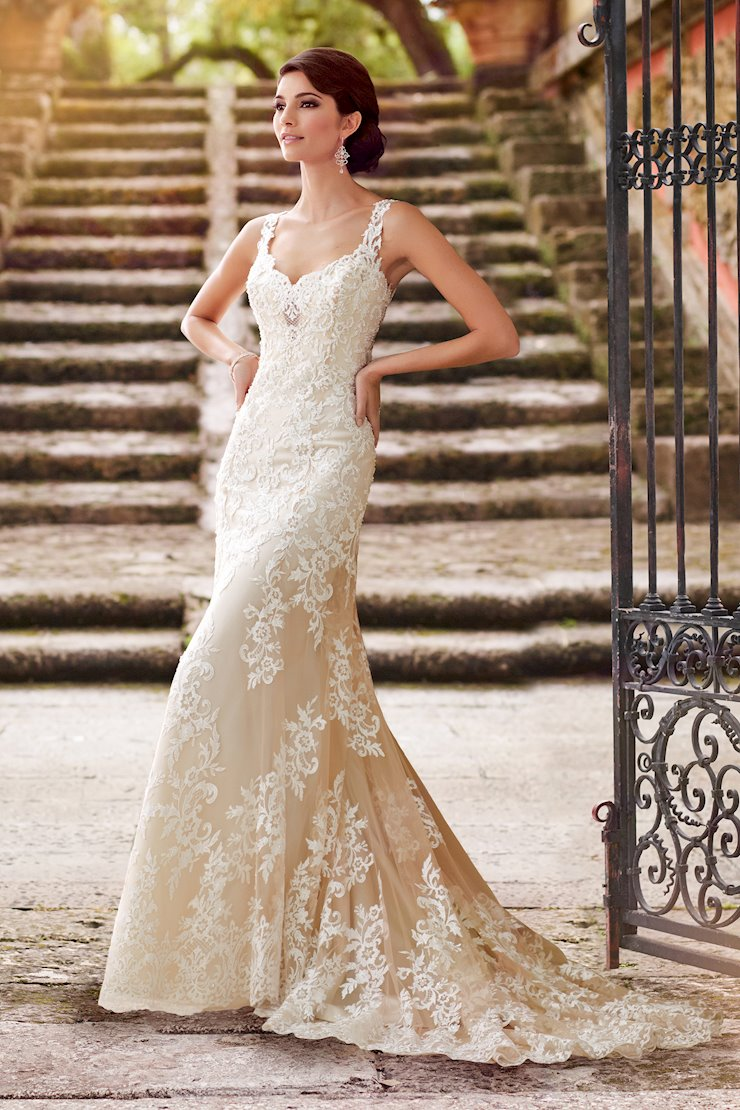 Florine Classic A-Line Gown with Embroidered Lace Over Satin