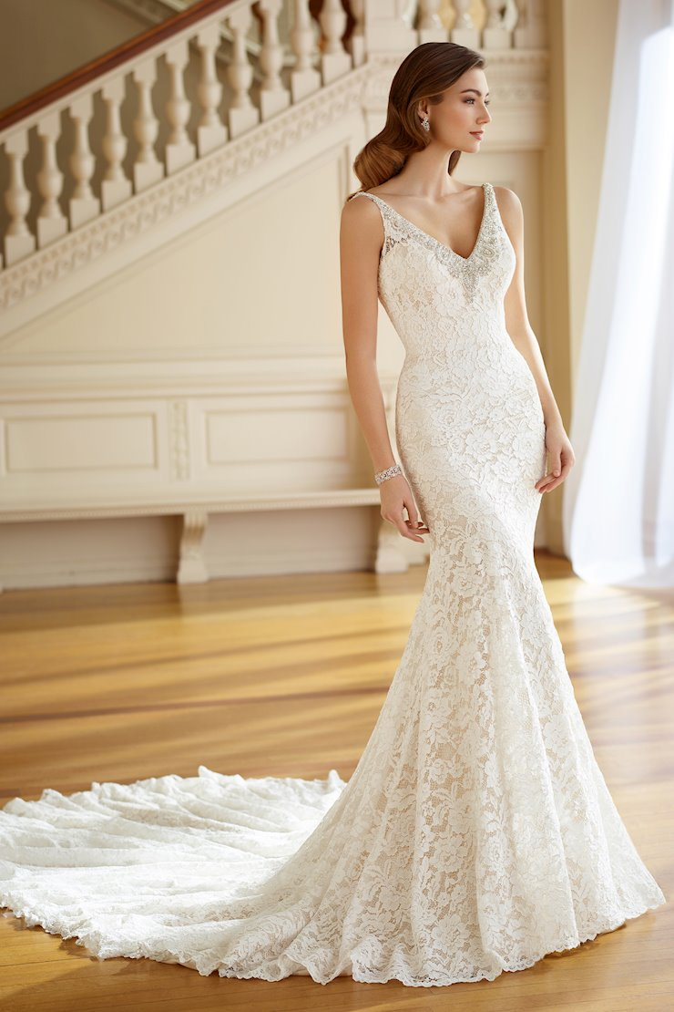 Pearl Lace Fit and Flare Gown with Illusion Shoulder Straps