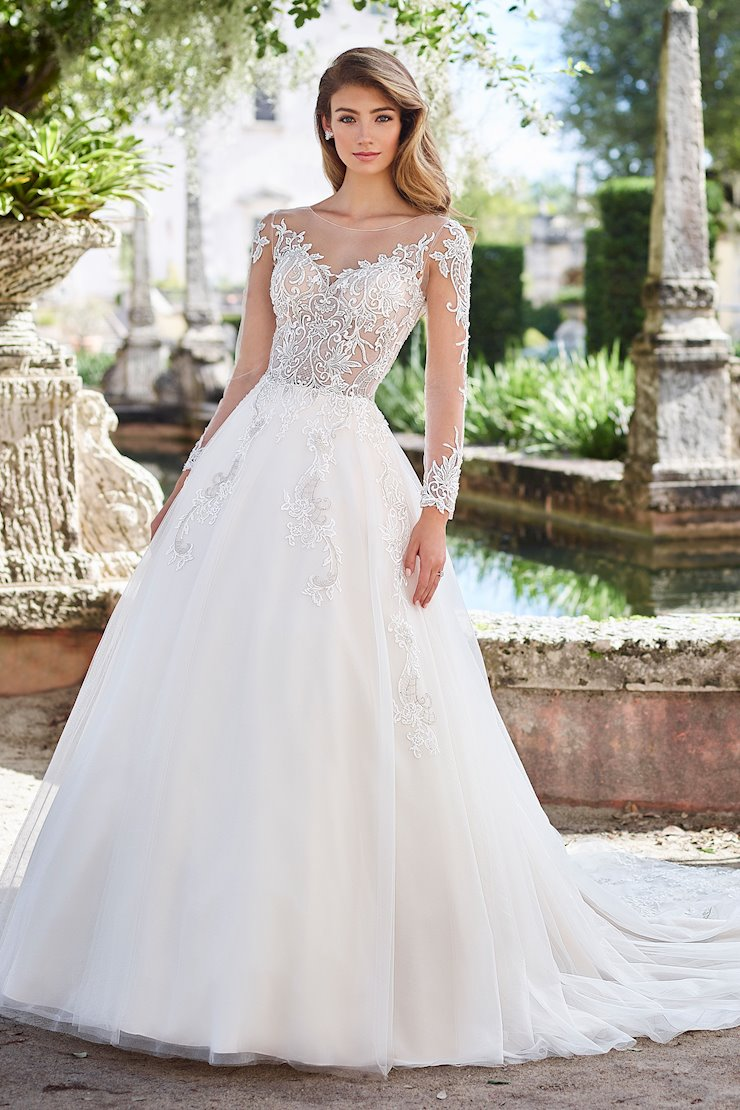 Juliet Romantic Lace and Tulle Ball Gown with Illusion Long Sleeves