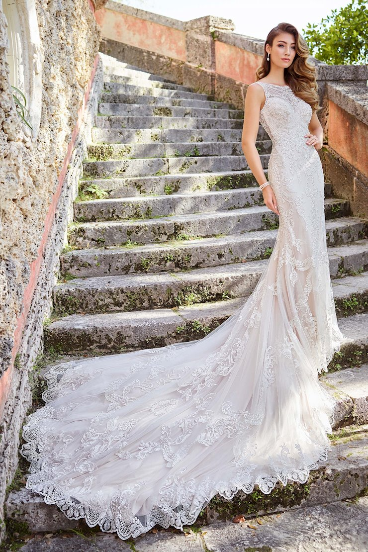 Stella Embroidered Tulle Gown with Beaded Illusion Neckline