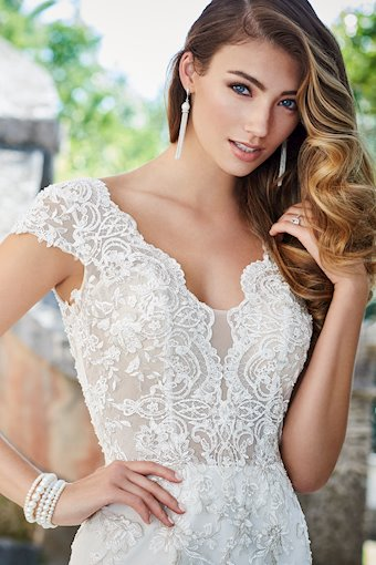 Veronica Schiffli Lace and Organza Trumpet Gown with Short Sleeves