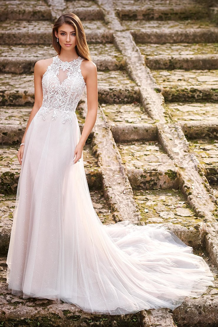 Mina Lovely A-Line Gown with Illusion Boned Bodice