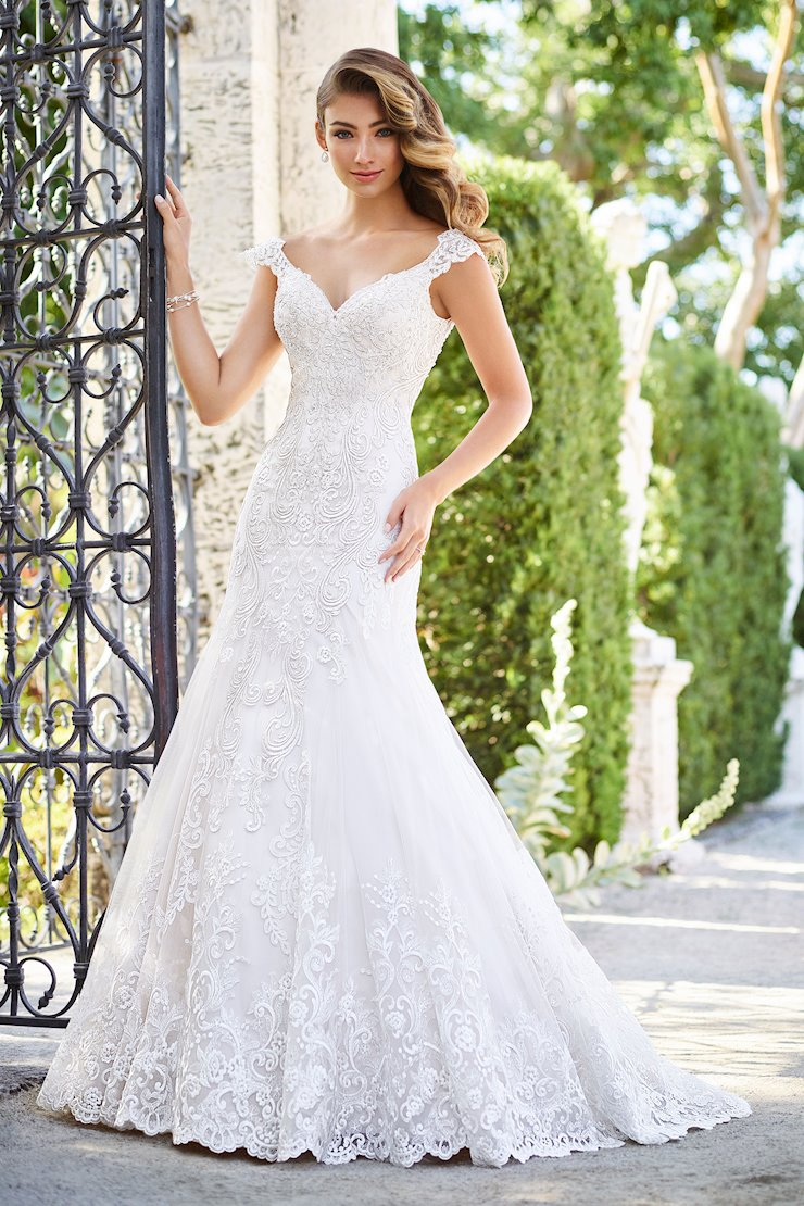 Carina Dynamic Lace over Satin Trumpet Gown with Cap Sleeves