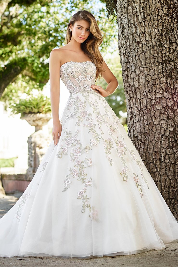 Flora Strapless Organza Gown with Embroidered Floral Lace Appliques