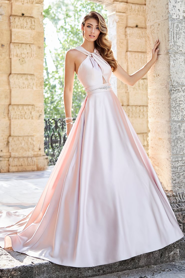 Olivia Flattering Satin Gown with Halter Neckline and Pockets