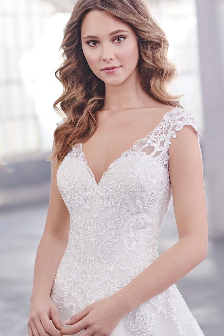 Nina Mesmerizing A-Line Gown with Schiffli Lace Appliques