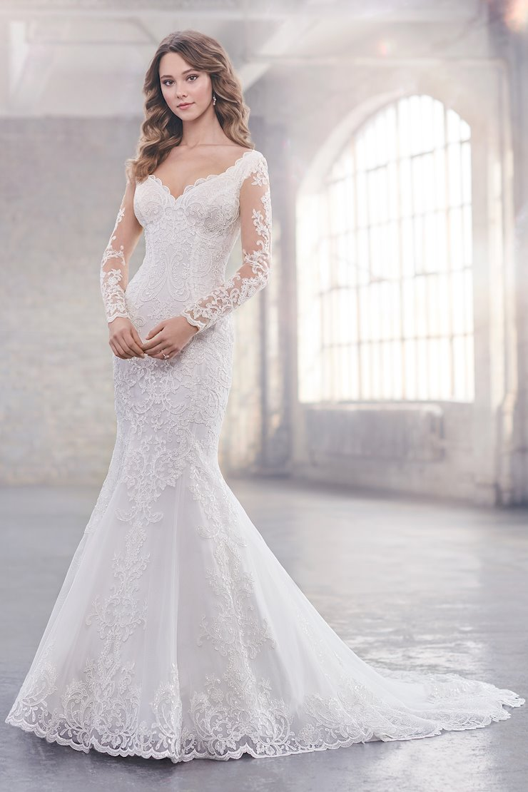 Amy Intricate Trumpet Gown with Lace Long Sleeves